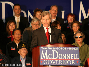 Virginia gubernatorial candidate Bob McDonnell will face the winner of the June 9 Democratic primary.