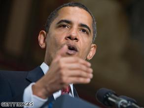 President Obama speaks on the economy at Georgetown University in Washington, DC, on April 14, 2009.