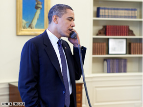 Obama speaks to Specter in a photo released by the White House Tuesday.