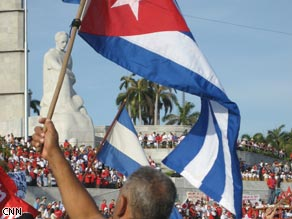Crowds celebrate May Day in Havana, Cuba Friday.