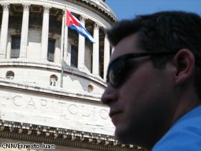 CNN's Jim Acosta in front of the Cuban Capitol building in Havana, Cuba.
