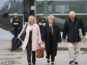 Liz Cheney traveled to the Middle East with her parents in March 2008.