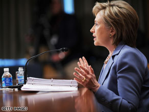 Hillary Clinton told lawmakers that new U.S. aid to Pakistan won't fund nuclear development.