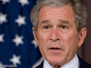 Bush missed both Obama and Cheney's speeches Thursday, a source tells CNN.