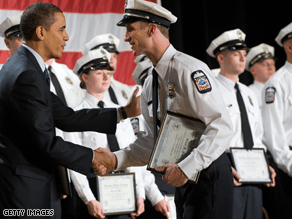 President Obama attended the graduation of 25 police recruits in Columbus, Ohio, in March, touting it as a victory for the federal stimulus package.