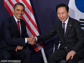 President Obama previously met South Korean President Lee Myung-bak at the recent G-20 summit in London.