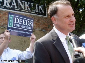 Less than 24 hours after his win, Deeds sent out a fundraising e-mail pleading bluntly for donations: 'We need to catch up,' the e-mail said.
