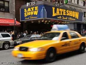 Fifteen protesters showed up Tuesday outside of the studio where David Letterman tapes his talk show program.