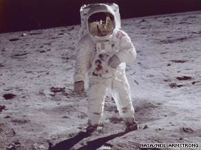 Buzz Aldrin walks on the moon in a photo taken by Neil Armstrong, his colleague on the 1969 mission.
