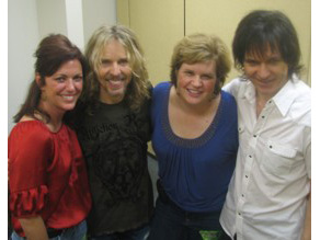 Kyra Phillips, Tommy Shaw, Sonya Houston and Larry Gowan backstage after the Atlanta show.