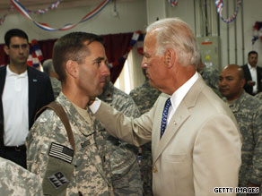 The vice president visited with U.S. troops during his recent visit to Iraq -- including with his son, Army Capt. Beau Biden, pictured here with the vice president.
