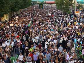 Protests by Iranians, such as this one on June 15, have been defended by the reformist figures.