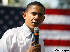 Then-presidential candidate Barack Obama speaks during a campaign stop at John Tyler Community College August 21, 2008 in Chester, Virginia.
