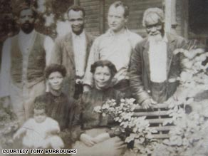 Burroughs Family Photo, Chattanooga, Tennessee 1889. Pictured standing, left to right: Morris Burroughs; Malachias Williams; UNK; Samuel P. Johnson.  Seated in the front row are: Robert Elliott Burroughs (baby); Mary Jane Lillie Williams Burroughs; & Martha Williams.