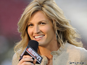 ESPN commentator Erin Andrews reports as the Pittsburgh Panthers upset the University of South Florida Bulls on October 2, 2008 in Tampa, Florida.