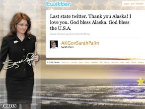 The last 'tweet' from Sarah Palin as Governor of Alaska.