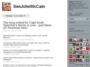 Sen. McCain currently has 1.1 million followers on the social networking and microblogging site Twitter.