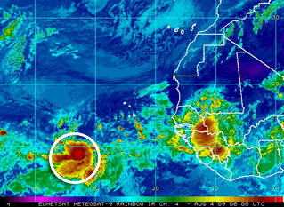 An area of disturbed weather several hundred miles southwest of the Cape Verde Islands is showing some signs of development this morning and could become the first named storm of the 2009 Atlantic Hurricane Season.