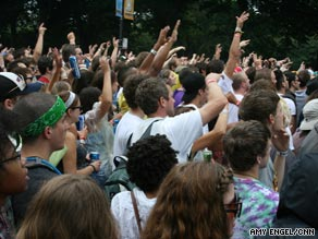 Festival goers enjoy one of the performances on the first day of Lollapalooza 2009.