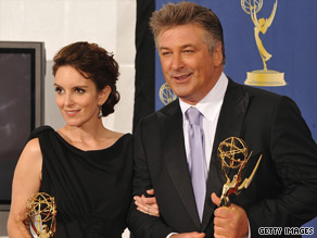 Tina Fey and Alec Baldwin hold their Emmys for ''30 Rock,'' which won best comedy series.