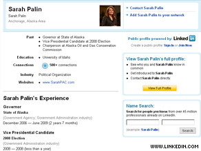 Former Alaska Gov. Sarah Palin has joined LinkedIn, a professional networking Web site.