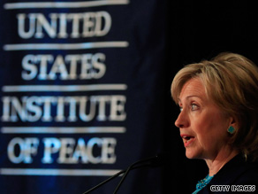 Secretary of State Clinton spoke Wednesday at the U.S. Institute of Peace, a non-partisan think tank.