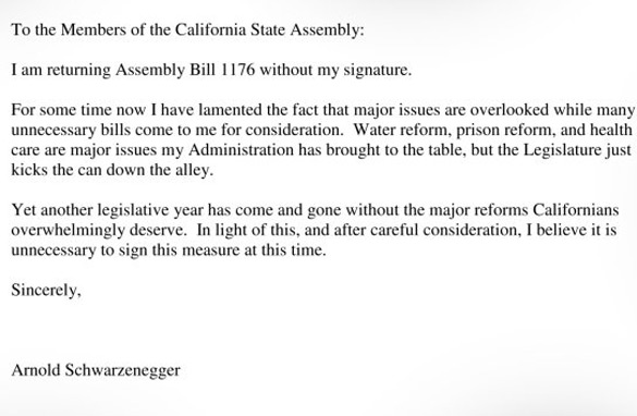 "Letter from Governor Arnold Schwarzenegger to ""Members of the California State Assembly"""