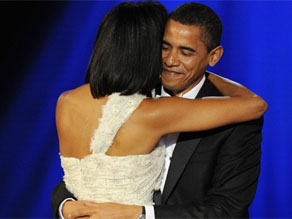 President Barack Obama and first lady Michelle Obama dancing their way at one of the 10 official inaugural balls
