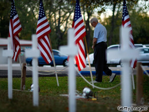 A temporary memorial site is set up in front of the Central Christian Church in memory of those killed and wounded at Fort Hood, Texas.