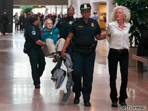 Protesters were arrested trying to occupy Sen. Lieberman's office Tuesdayon Capitol Hill.