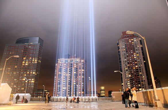 Lights near Ground Zero to memorialize September 11.