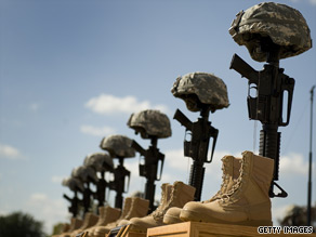 A fallen soldiers memorial is seen in front of the podium where President Obama spoke at the memorial service for victims of the Fort Hood shootings.
