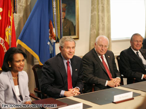 (L to R) Condoleeza Rice, George W. Bush, Dick Cheney, Donald Rumsfeld.