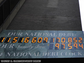 The National Debt Clock in midtown Manhattan in July 2009. Those numbers currently top $12 trillion.