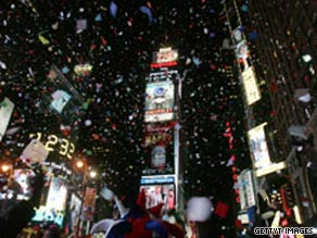 Confetti rains down on New York's Times Square on January 1, 2009.