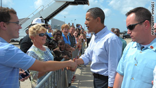 President Obama arrived in Gulfport, Mississippi, on Monday, his first stop on a two-day tour of the states most affected by the oil disaster.