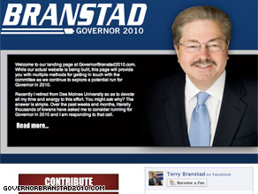 Former Iowa Gov. Terry Branstad announced Thursday that he will try to get his old job back in 2010.