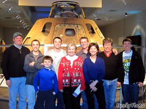 Cady and family - Mark Hopkins, Conor, Garrett and Jamey Murray-Coleman, Josh Simpson, Kieran Murray-Coleman, Jamey Simpson, Ann Doty, Cady Coleman.