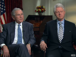 In an interview with CNN, Former President Clinton said he doesn't think you should gratuitously give advice as an ex-president.  Former President George W. Bush said he doesn't miss the limelight.