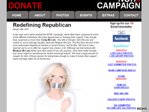 Cindy McCain, the wife of the 2008 Republican presidential candidate, has posed for a Web site promoting same-sex marriage.