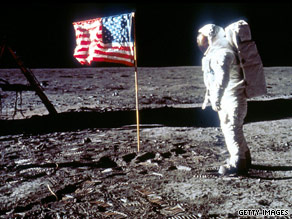 Buzz Aldrin poses on the surface of the moon in 1969.