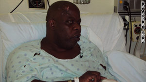 Blind violinist Romel Joseph recovers in a Miami, Florida, hospital from injuries he received in the quake.