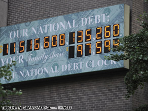 A 2009 file photo of the National Debt Clock. That number now stands at over $13 trillion.