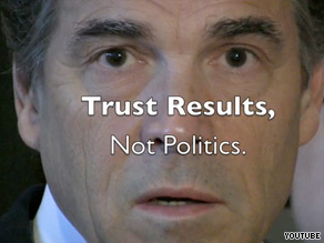 Sen. Kay Bailey Hutchison's Web video accuses Gov. Rick Perry of 'cronyism'.