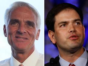 Florida Gov. Charlie Crist insinuated Monday that his GOP Senate primary opponent, March Rubio paid for a back wax with a Republican Party of Florida credit card.