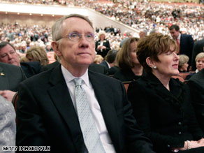 Sen. Harry Reid's wife (pictured) and daughter were involved in a car accident Thursday in the Washington area.