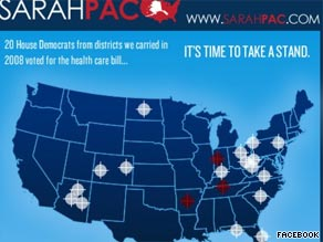 An image on Sarah Palin's Facebook page featuring crosshairs on certain Democratic districts is causing an uproar .