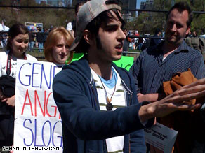 Naveed Easton was one of a smattering of counter-protesters at a Tea Party rally Wednesday in Boston.