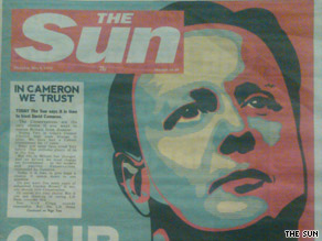 The Sun, a Fleet Street newspaper, has borrowed the iconic Barack Obama 'Hope' campaign poster to endorse Conservative David Cameron.