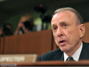 Sen. Arlen Specter is targeted in a new television ad that links him to Sarah Palin and George W. Bush.